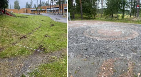 HÆRVERK: Først ble det brukt flammer ved hjelp av deodorantspray på Reinsvoll barneskole, så ble det utført hærverk ved bruk av traktor.