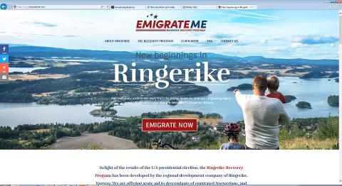 En ny start i Ringeriksregionen? Etter responsen å dømme kan Ringerike komme til å få flere nye innbyggere fra USA.