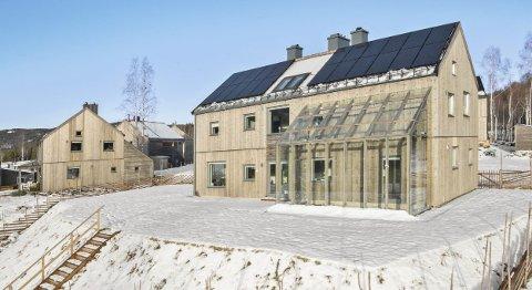 Dyrest: Boligen i Alvestigen 55 er til nå den dyreste boligen som blir solgt i Økolandsbyen, og i Hurdal. På bildet ses både solcellepanelene på taket og drivhuset med utgang fra kjøkkenet. Prisantydningen er på 6,8 millioner kroner. Begge FOTO: Heidi Hexeberg Larsen / Inviso