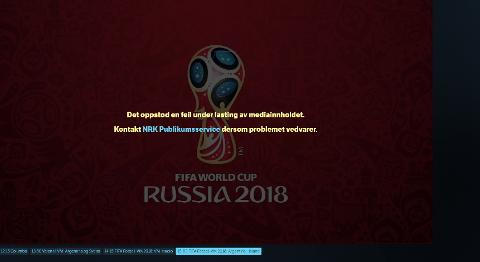 FEILMELDING: Seere som forsøkte å se Islands VM-kamp mot Argentina lørdag på NRKs nett-TV ble møtt med denne feilmeldingen.