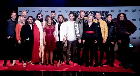 Disse artistene skal konkurrere i den norske Melodi Grand Prix-finalen. Fredag ble artistene presentert i NRKs Studio 1 på Marienlyst i Oslo. Finalen holdes i Oslo Spektrum 2. mars. Foto: Tom Gustavsen