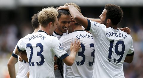 "Football - Tottenham Hotspur v Stoke City - Barclays Premier League - White Hart Lane - 15/8/15 Nacer Chadli celebrates with team mates after scoring the second goal for Tottenham Action Images via Reuters / Andrew Couldridge Livepic EDITORIAL USE ONLY. No use with unauthorized audio, video, data, fixture lists, club/league logos or ""live"" services. Online in-match use limited to 45 images, no video emulation. No use in betting, games or single club/league/player publications.  Please contact your account representative for further details."