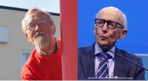 UENIGE: Yngve Hågensen, tidligere LO-leder (t.v.) og Kåre Willoch, tidligere statsminister for Høyre.