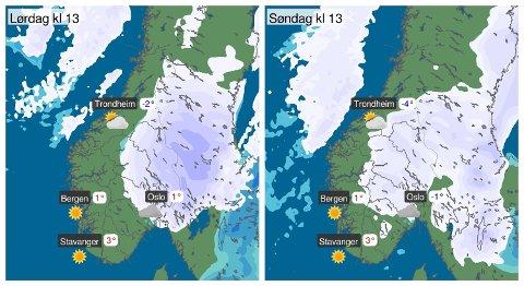 NYTT VARSEL: Slik blir helgeværet i Sør-Norge, ifølge Meteorologisk institutt. Foto: (Meteorologisk institutt)