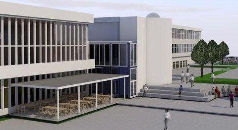 Skisse: Slik har Skylstad Arkitektur AS skissert den nye videregående skolen på Tingvoll. Her skal både bibliotek og kulturskole inn.