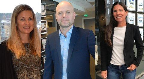 PALLEN: Elisabeth S. Bakke, Kenneth Doksheim og Jeanette Sørvik topper inntektslisten for eiendomsmeglere.
