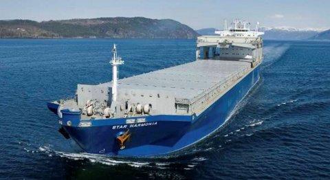 En enorm skipsflåte fordelt over hele verden blir styrt fra Bergen. Selv om skipene sjelden eller aldri er å se i Bergen havn, er det her i byen verdiskapingen skjer. Bildet viser Star Harmonica. FOTO: GRIEG STAR