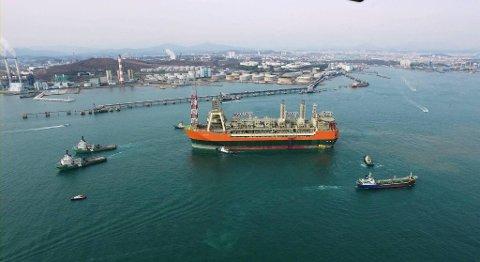 Produksjonsskipet Glen Lyon ruver i landskapet. De neste to månedene skal skipet ligge i Haugesund. FOTO: BP