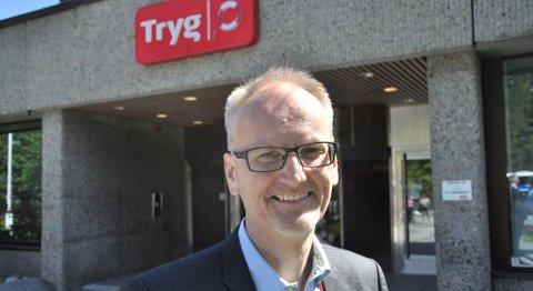 Leder for Tryg Norge, Espen Opedal, påpeker at selskapet tenker langsiktig, og at forsikringstilbudet som nå blir lansert for folk flest ikke bare er knyttet til dagens vanskelige arbeidsmarked. FOTO: TRYG