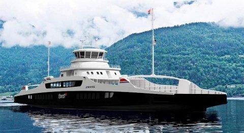 lik vil dei nye ferjene ta seg ut, når dei glir lydlaust over fjorden mellom Lote og Anda i Nordfjord. ILLUSTRASJON: MULTI MARITIME