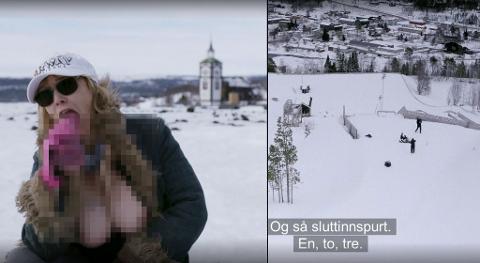 INNSPILLING: Med Bergstaden Ziir og hoppbakken i Tolga som kulisser, ble det spilt inn pornoscener som vises i dokumentaren Pornolandet på TV2.