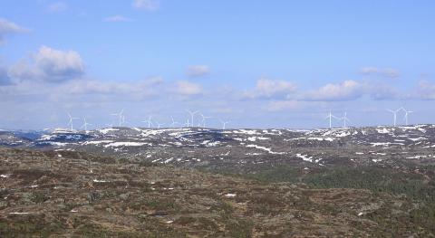 BUHEII: Visualisering fra Stakkhomfjell med Vestas V150 vindturbiner (endelig utbyggingsløsning).