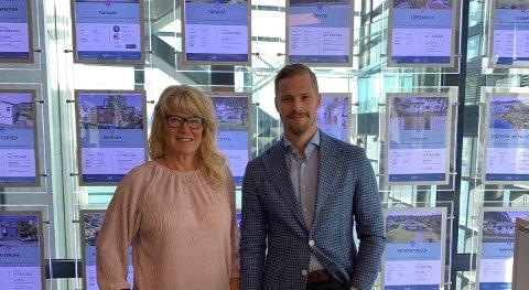 Administrerende direktør i Nobl Mona Paulsen og konst. daglig leder i DNB Eiendom i Bodø Simon Fjordholm.