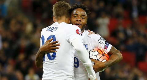 Football - England v Estonia - UEFA Euro 2016 Qualifying Group E - Wembley Stadium, London, England - 9/10/15 England's Raheem Sterling celebrates scoring their second goal with Jamie Vardy Reuters / Darren Staples Livepic EDITORIAL USE ONLY.