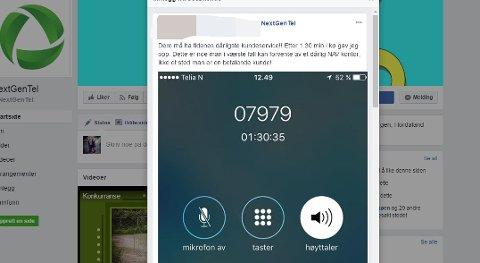En kunde har sendt inn en skjermdump fra mobilen som viser halvannen time i kø hos Nextgentel.