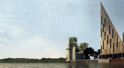 Et nytt Havforskninginstitutt på Dokken kan for eksempel bygges med gamle skipsskrog som deler av fasaden, mener Vill Urbanisme. ILLUSTRASJON: VILL URBANISME OG VISJON DOKKEN/EGD/OBOS