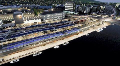 Stasjon for fremtiden: Bane Nor understreker selv at de nå er en viktig bidragsyter til transformasjonen av Drammen og viser hvordan hele stasjonområdet vil bli seende ut når den står ferdig i 2024.