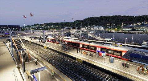 Nye Drammen stasjon: Slik vil stasjonsområde fremstå i 2024 der plattformene er direkte knyttet til den nye bybrua.
