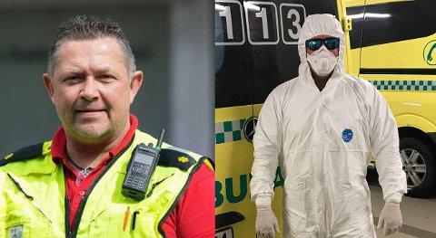 VIKTIG UTSTYR: Tom D. Brien (51) og kollegene i ambulansetjenesten i Østfold må hver dag ikle seg smittevernutstyr for å beskytte både seg selv og pasientene. Det gjør selvsagt arbeidssituasjonen enda mer krevende enn vanlig.