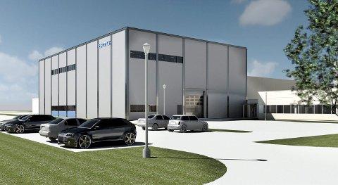 NYBYGG: Et nytt fabrikkbygg med en ny formblåsingsmaskin kan doble produksjonskapasiteten ved Schütz Nordic på Siva, og bedriften har behov for åtte nye ansatte i første omgang.TEGNING: ARKITEKTLAGET