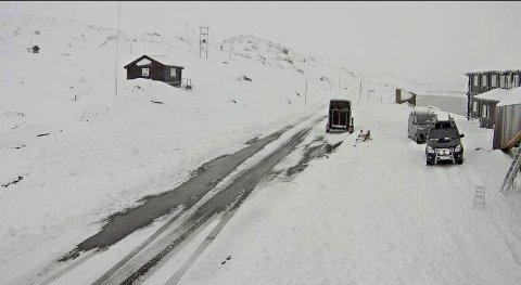 På flere fjelloverganger er det nå vinterføre. Her et bilde fra riksvei 55 over Sognefjellet. Foto: Statens vegvesen / NTB scanpix