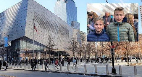 NEW YORK I STEDET FOR SKOLE: Hans Christian Frøisli og Trym B. Larsen fikk anledning til å besøke World Trade center i New York. Det er mye læring i et slik besøk. Som en ser på bildet er det særdeles lite snø i storbyen på tross av varslet snøstorm.