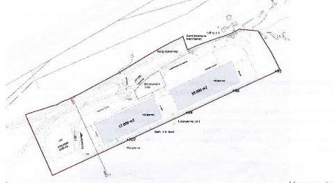 AREALPLAN: Slik er planene på Hundbergan som nå ligger ute til offentlig høring. To gigantbygg og en bensinstasjon skal holde vogntog unna Tromsø.