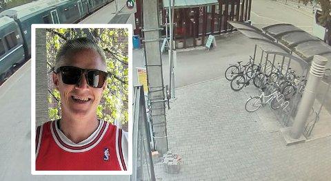 ETT ÅR GAMMEL EL-SYKKEL: Dag-Christian Olsen ble frastjålet sin ett år gamle el-sykkel, som sto låst ved Gjøvik stasjon mandag.