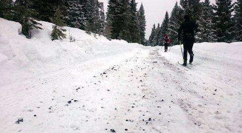 Denne uken ble det innerst i Gropmarka brøytet på vegen - der det var skiløyper. Nå er det grus istedenfor snø for skiløperne. Foto: Privat