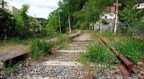BREVIK: Det er fortsatt rester av jernbanen ved Trosvik i Brevik.