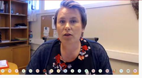 DIGITALT: Slik der det ut når ordfører Karoline Fjeldstad (Sp) leder et digitalt kommunestyremøte.