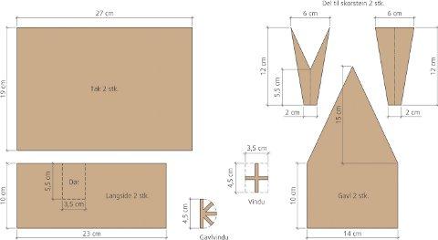 Tegning: Maler for tradisjonelt pepperkakehus prosjektert etter BAK10. Dører og vinduer plasseres etter behag (stiplet strek). Vindussprosser skjæres ut og stekes separat. Disse ettermonteres i vindusutsparingene under pyntingen.