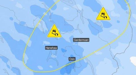 GULT FAREVARSEL: Meteorologene har lagt ut dette kartet på Twitter for å advare om underkjølt regn.