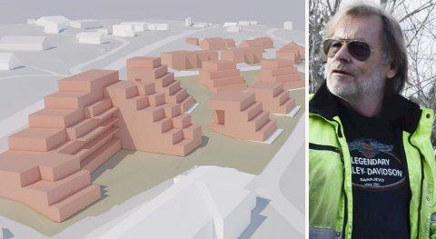 TERRASSER: Olav Reistads nye boligbebyggelse på Vik omtales som «terrassert blokkbebyggelse». Skissen er fra en mulighetsstudie.