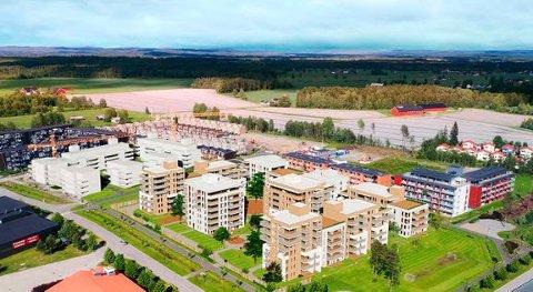 STOR UTBYGGING: På denne tomta på Gystadmarka på Jessheim planlegger Obos 290 nye leiligheter.