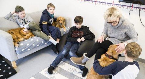 PAUSE: Aron og MIkael nyter pausen med Bris og Lille Fie i sofaen, mens Jan Lucas har tatt plass i sakkosekken så lenge. Anne Grethe og Oskar plnalegger nye trisk med Lazy.