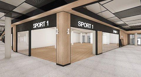 SPORT1: Blant butikkene som er bekreftet at skal åpne på det nye Rortunet, er Sport1. Mange ønsker seg i tillegg store klesbutikkjeder og godt utvalg av herreklær. Illustrasjon: Schage eiendom/Radius design
