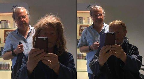 «FØR OG ETTER»: Knut Hamre dro til Aagaards frisør'n da de åpnet salongen mandag, og spøkte med hva som hadde skjedd med frisyren siden sist. – Det var veldig morsomt, sier frisør Roar Rolstad.