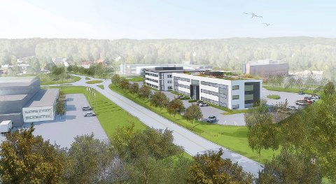 NÆRINGSBYGG: Nybygget på Nordre Kullerød blir på 2.500 kvadratmeter, i tre etasjer. Fasaden blir mot Torpveien. (Illustrasjon: Linda Blom)