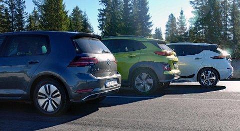 VW e-Golf, Hyundai Kona og Nissan Leaf er eksempler på folkelige elbil-bestselgere her til lands.