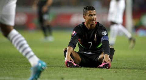 Portugal's Cristiano Ronaldo reacts during their friendly soccer match against France at Alvalade stadium in Lisbon, Portugal September 4, 2015. REUTERS/Rafael Marchante