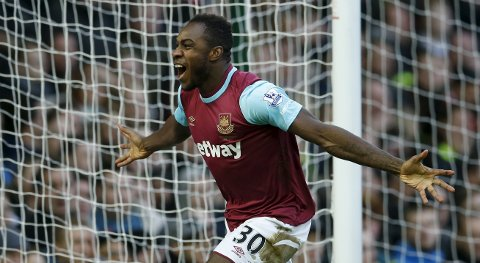 "Football Soccer - West Ham United v Liverpool - Barclays Premier League - Upton Park - 2/1/16 Michail Antonio celebrates after scoring the first goal for West Ham Action Images via Reuters / John Sibley Livepic EDITORIAL USE ONLY. No use with unauthorized audio, video, data, fixture lists, club/league logos or ""live"" services. Online in-match use limited to 45 images, no video emulation. No use in betting, games or single club/league/player publications.  Please contact your account representative for further details."