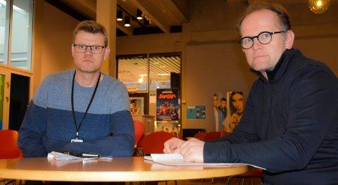 Bekymret: Øystein Haave og Dag Fosser (t.h) som begge er enhetsledere i hjemmetjenesten i Indre Østfold ee bekymret. – Vi mangler folk, sier de og appellerer til pårørende om å ta et tak.
