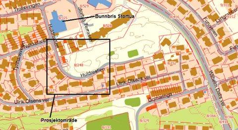 Fortauet skal bygges i Huldrestien, innenfor området som er markert med firkant på kartet.
