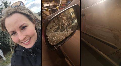 STORE SKADER: Marlen Lauvset fikk speilet knust og en stor ripe langs hele bilsiden da hun ble påkjørt i Monrads gate mandag kveld. .