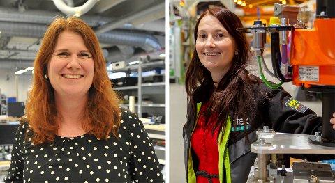OPTIMISTER: Silje Aschehoug i Sintef (t.v.) og Anita Hager hos Intek Engineering jubler for at to lokale tomtealternativ er med videre i kampen om batterifabrikken. ARKIVBILDER