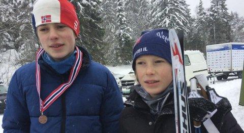 KM-medalje: Tor Myhre ble nr. 3 i KM i gutter 13 år sist lørdag, mens lillebror Vemund ble nr. 2 i 11-årsklassen, som hadde vanlig kretsrenn. Privat foto