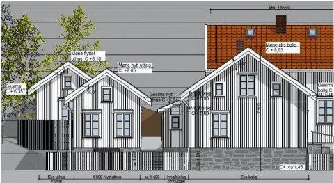 Trehusmiljø: Denne illustrasjonen har huseieren brukt i søknadsprosessen.