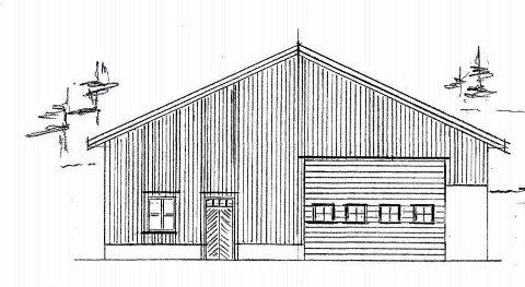 Driftsbygning: Slik blir fasaden mot sør på landbruks-bygningen som Tor Kvifte ønsker å oppføre nær Vegårvassdaget. Tegning: Byggmester Ivar Songe AS.