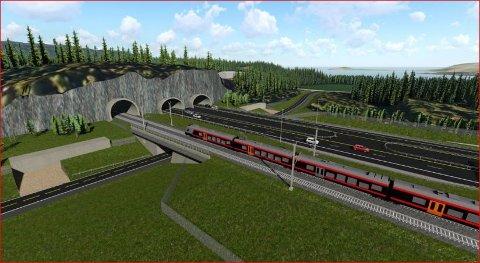 E16 i fire felt: Mellom Sandvika er E16 planlagt som motorveg i fire felt, mens jernbanen får dobbeltspor.